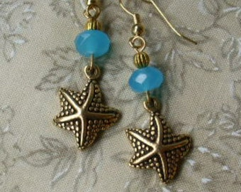 Gold Starfish Blue Stone SEASTAR Earrings