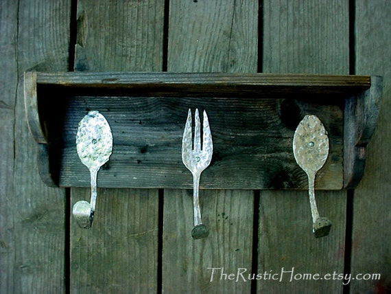 Weathered wood wall decor : Items similar to hammered fork spoon hooks weathered wood