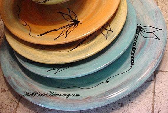 Custom dinner plates choose your desired colors with or without dragonflies dragonfly design rustic dinnerware pottery tableware rustic home