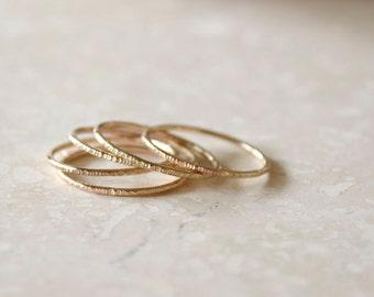 Rose Gold Stacking Rings - Set of 5