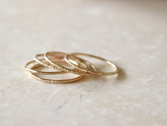 Rose Gold Stacking Rings - Set of 5