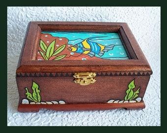Angel Fish Jewelry Box, Wood burned Design, Hand Painted, Handmade, Unique Gift, Jewelry Holder, Jewelry Organizer, Trinket Box, Decorative