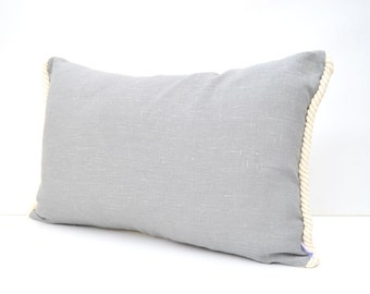 Silver grey linen lumbar pillow cover with nautical cotton cord