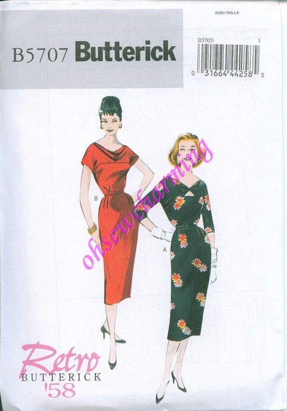 Butterick 5707 Retro Dress Pattern 1958 Size 6-8-10-12-14 GOWN Sexy Keyhole neckline Wiggle skirt EASY to Sew