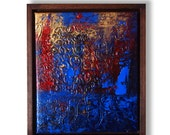 Confused II Original Texture Painting by ChingTeoh with Raw Wood Frame