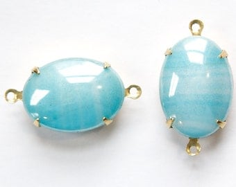 Vintage Blue Striped Glass Stones  in 2 Loop Brass Setting ovl003C2