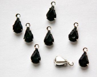 Vintage Black Glass Faceted Teardrop Stones in 1 Loop Silver Setting par005Y