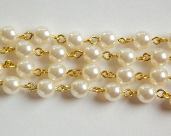 Glass Cream Pearl Beaded Chain Gold Links chn030