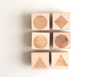"""Pick 6 Geometric Shapes or Monogram Letter 1"""" Rubber Stamps (Wood Mounted) Petites Collection, Triangle, Circle, Diamond, Starburst, Hexagon"""