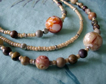 Natural Summer triple strand necklace