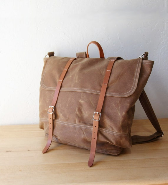 Waxed Canvas Backpack // Rucksack // Leather Straps // in Saddle Brown // Organic Cotton Lining