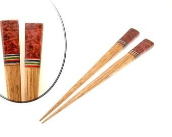 Handmade Wood Hair Stick Set Butternut Wood with Red Box Elder Burl Wood