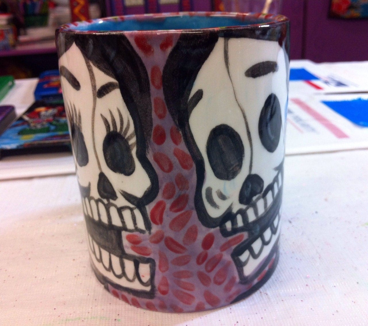 Day Of The Dead Ceramic Mug Handpainted