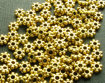 Gold Daisy Spacer Beads - Set of 200 - 5mm Bright Gold with Antique Finish (GBD0011)