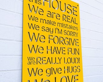 House Rules Sign, Family Quote Sign, In This House Sign, Inspirational Sign, Funky Wood Sign, Wood Sign Decor, Wood Word Sign