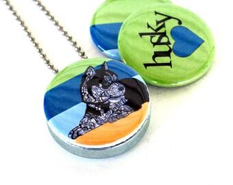 Husky Dog Locket Necklace - Recycled Jewelry, Siberian Husky Necklace by MayhemHere and Polarity
