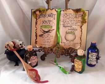 Nightmare before christmas sally recipe worms wart soup spell book halloween prop