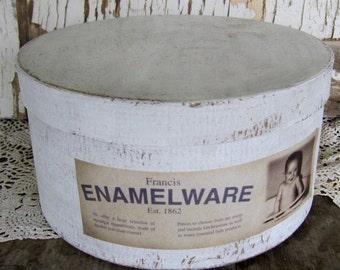 Primitive Box, White Box,  Enamelware Label, Cottage Chic Decor, Shabby, Baby