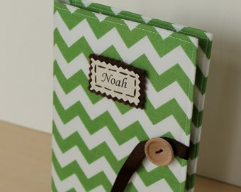 emerald green chevron personalized photo album brag book multiple color options