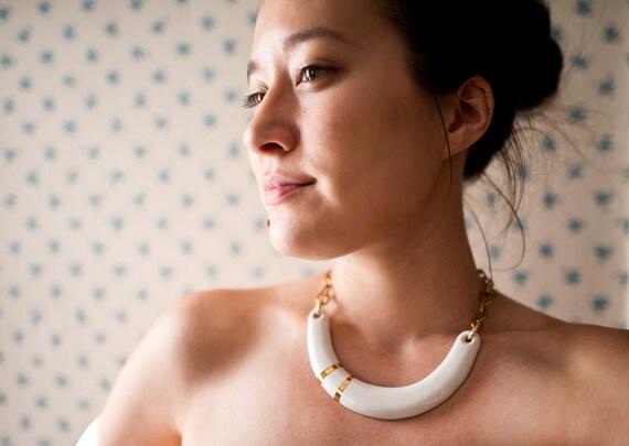 Beach White Gold Porcelain Necklace - Crescent Nautical Yoke- Oceanside Summer - 22k Gold - Porcelain Jewelry