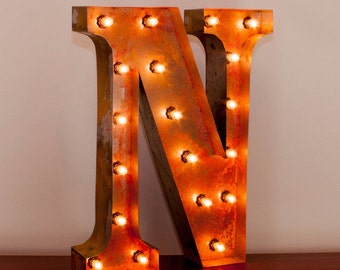 Marquee Light Rusted Home Decor 24 Inch Letter N
