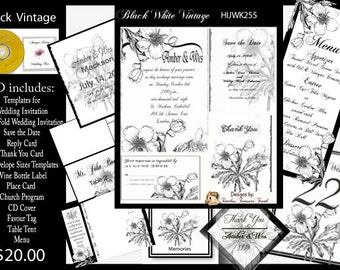 Delux Black and White Vintage Wedding Invitation Kit on CD