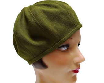 Women's Beret in Olive Green Vintage Wool Crepe - Made to Order - 3 WEEKS FOR SHIPPING