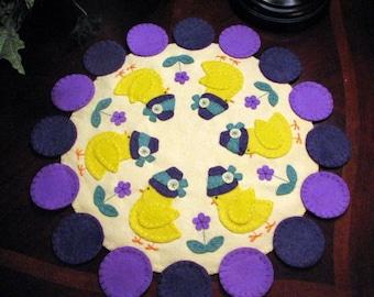 "Hand Stitched Primitive-Folk Art-17-1/2"" EASTER BONNET CHICKS-Wool-Felt Penny Rug-Candle Mat-Fiber Art-Table Decor-Home Decor- ofg team"