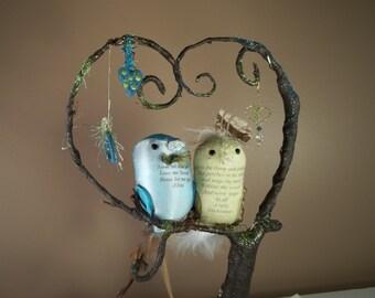 Wedding Cake Topper Portrait FerdiBird -- miniature custom love birds in a tree