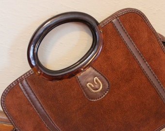 Rusty Brown Suede and Vinyl Handbag - vintage Equestrian Prep Purse with Round Lucite handles