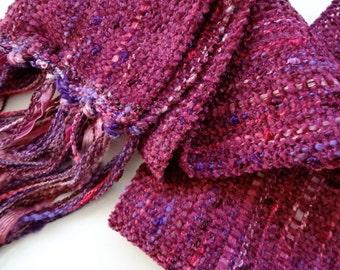 Christmas in July sale handwoven bordeaux, marsala, winter berry scarf long
