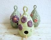 Ceramic Birdhouse Handmade Bird House Purple Poppy Flowers Lime Green Garden Art Gardening Decor Summer Whimsy