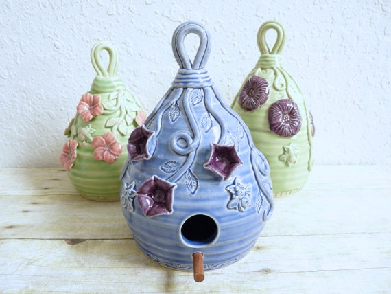 Morning Glory Birdhouse with Bees, Flowers and Vines Handcrafted Pottery Gardener Mother's Day Gift Purple Blue Stoneware