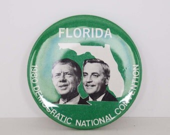 Vintage 1980 Florida for Jimmy Carter - Walter Mondale Presidential Campaign Pinback Button