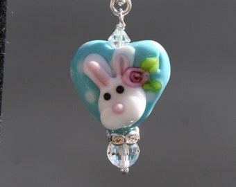 Easter Bunny Heart Shaped Lampwork Glass DeSIGNeR Necklace Aqua Blue Turqouise Polka Dots Spring Rabbit