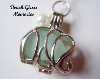 Elephant Necklace, Sea Glass Elephant Locket  Beach Glass Jewelry Seaglass Locket