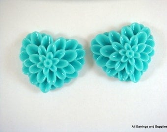SALE - 2 Turquoise Heart Flower Cabochon Dahlia Resin 38x34mm - No Holes - 2 pc - CA2017-T2