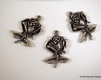 3 Rose Charm Antique Silver Drop Pendant 26x18mm  - 3 pc - 6024-20