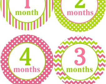 Baby Monthly Stickers for Girls/Baby Girl Monthly Stickers/Raspberry Pink and Lime Green Monthly Stickers/Girls Baby Shower Gift
