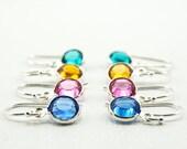 Custom Birthstone Earrings  Crystal Drop Earrings, Sterling Silver Earwires