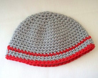 Crochet Doll Hat Grey and Red Handmade Hat fits 18 inch doll