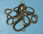 Octopus Squid Bronze Connector Pendant lot of 2