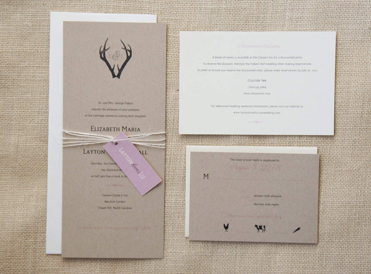 Initial Wedding Invitations: Sample Monogram Antlers Wedding Invitation