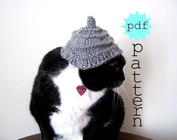 PDF Knitting Pattern Frolicsome Cat Hat by FullFlowerMoon on Etsy