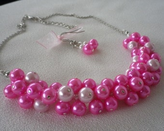 Cerise Pink Cluster Collar Bib Statement  Necklace and Earrings