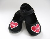 Valentine Shoes, Hand Painted Red Hearts on Black Mary Janes, Holiday Shoes, Babies and Toddlers