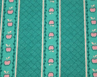 SALE vintage 80s novelty fabric, featuring great apples and stripe design, 1 yard, 5 inches