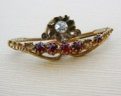 Vintage .. Antique Victorian Brooch, Ruby Red Rhinestone Pin, Goldtone Jewelry
