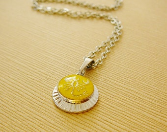 Vintage Scorpio Horoscope Necklace, Charm, Chain Silvertone