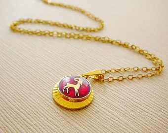 Vintage .. Horoscope Necklace, Aries Charm, Chain Ram Goldtone Red